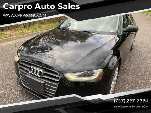 2013 Audi A4 for sale at Carpro Auto Sales in Chesapeake VA