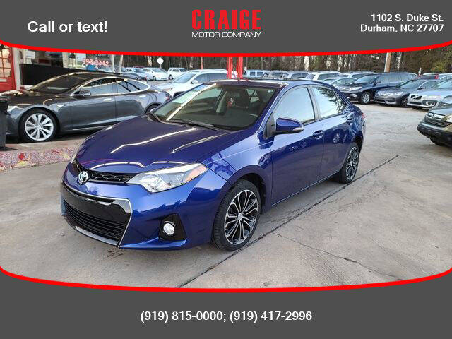2015 Toyota Corolla for sale at CRAIGE MOTOR CO in Durham NC