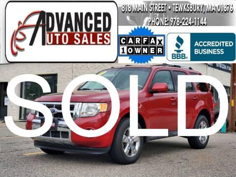 2011 Ford Escape for sale at Advanced Auto Sales in Tewksbury MA