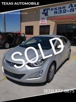 2014 Hyundai Elantra for sale at TEXAS AUTOMOBILE in Houston TX