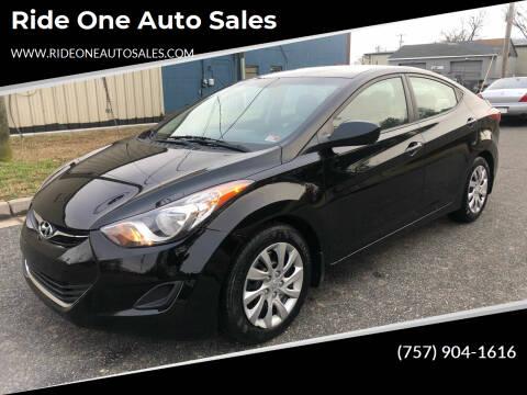 2012 Hyundai Elantra for sale at Ride One Auto Sales in Norfolk VA