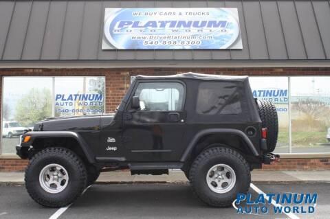 2003 Jeep Wrangler for sale at Platinum Auto World in Fredericksburg VA