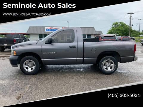 2002 Dodge Ram Pickup 1500 for sale at Seminole Auto Sales in Seminole OK