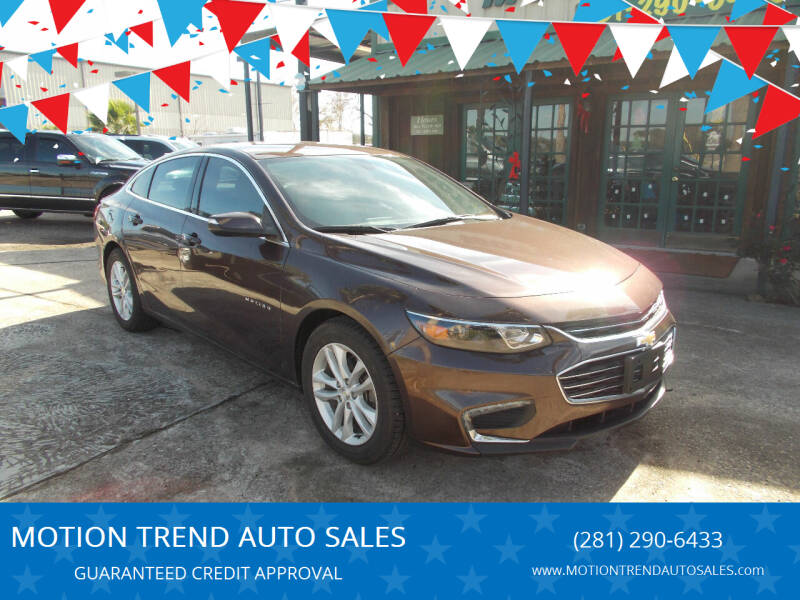 2016 Chevrolet Malibu for sale at MOTION TREND AUTO SALES in Tomball TX