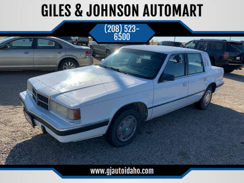 1991 Dodge Dynasty for sale at GILES & JOHNSON AUTOMART in Idaho Falls ID