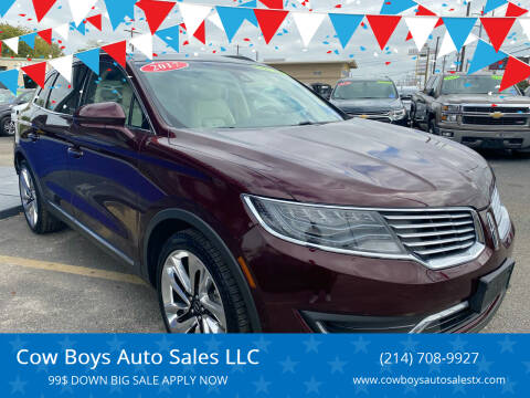 2017 Lincoln MKX for sale at Cow Boys Auto Sales LLC in Garland TX