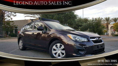 2012 Subaru Impreza for sale at Legend Auto Sales Inc in Lemon Grove CA