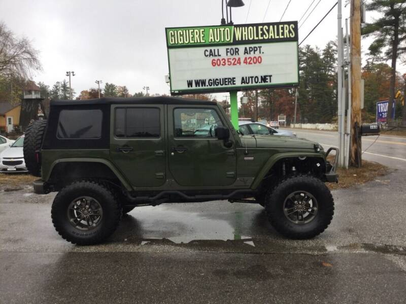 2016 Jeep Wrangler Unlimited for sale at Giguere Auto Wholesalers in Tilton NH