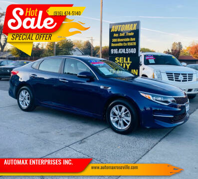 2018 Kia Optima for sale at AUTOMAX ENTERPRISES INC. in Roseville CA