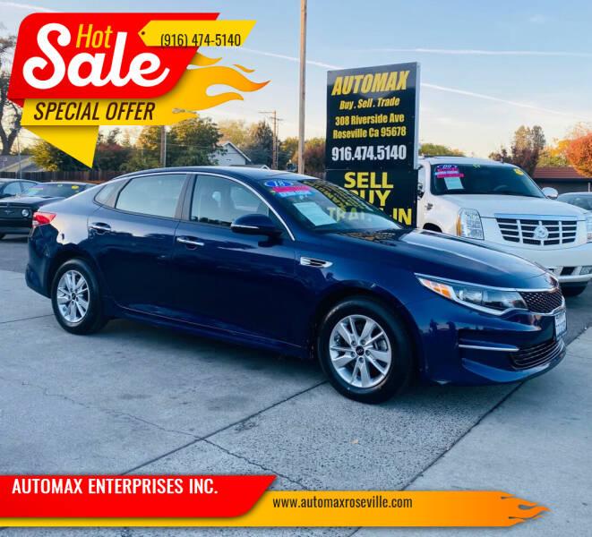 2018 Kia Optima for sale at AUTOMAX ENTERPRISES INC. in Roseville CA