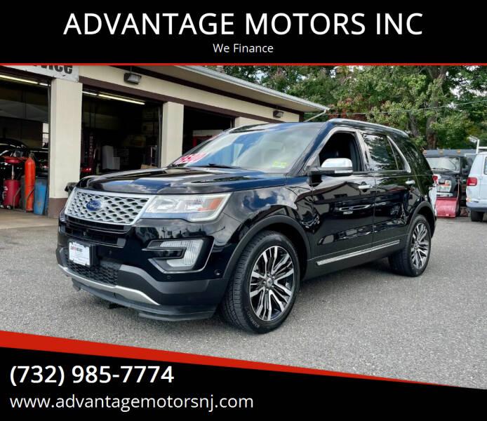 2016 Ford Explorer for sale at ADVANTAGE MOTORS INC in Edison NJ