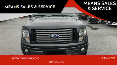 2012 Ford F-150 for sale at MEANS SALES & SERVICE in Warren PA