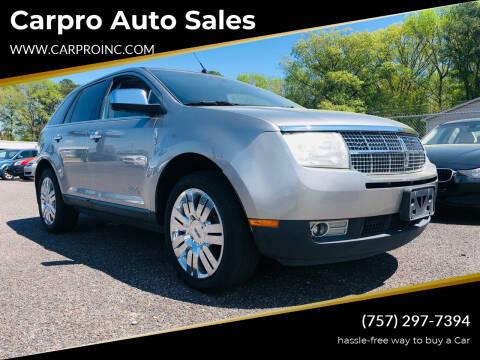2008 Lincoln MKX for sale at Carpro Auto Sales in Chesapeake VA
