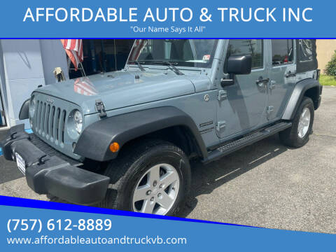 2015 Jeep Wrangler Unlimited for sale at AFFORDABLE AUTO & TRUCK INC in Virginia Beach VA