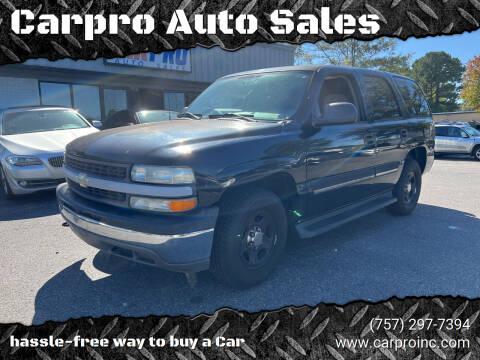 2006 Chevrolet Tahoe for sale at Carpro Auto Sales in Chesapeake VA