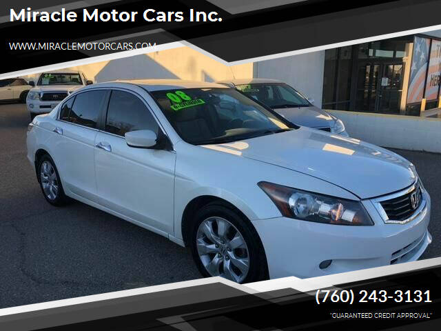 2008 Honda Accord for sale at Miracle Motor Cars Inc. in Victorville CA