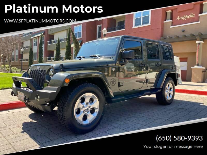 2015 Jeep Wrangler Unlimited for sale at Platinum Motors in San Bruno CA