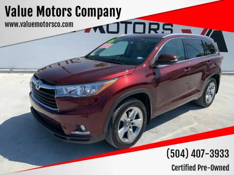 2016 Toyota Highlander for sale at Value Motors Company in Marrero LA