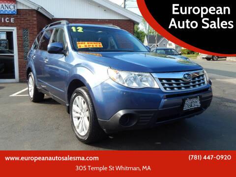 2012 Subaru Forester for sale at European Auto Sales in Whitman MA
