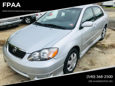 2006 Toyota Corolla for sale at FPAA in Fredericksburg VA