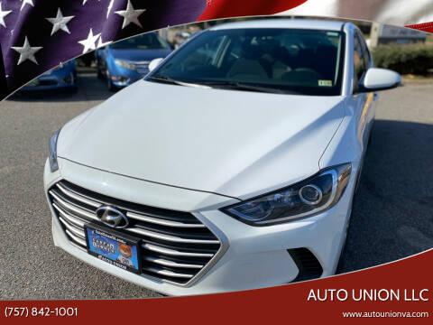 2018 Hyundai Elantra for sale at Auto Union LLC in Virginia Beach VA
