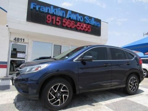 2016 Honda CR-V for sale at Franklin Auto Sales in El Paso TX