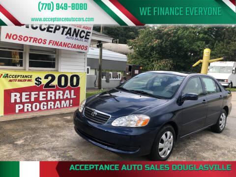 2008 Toyota Corolla for sale at Acceptance Auto Sales Douglasville in Douglasville GA