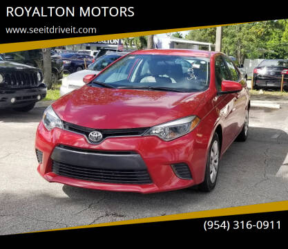 2016 Toyota Corolla for sale at ROYALTON MOTORS in Plantation FL