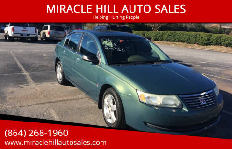 2006 Saturn Ion for sale at MIRACLE HILL AUTO SALES in Greenville SC
