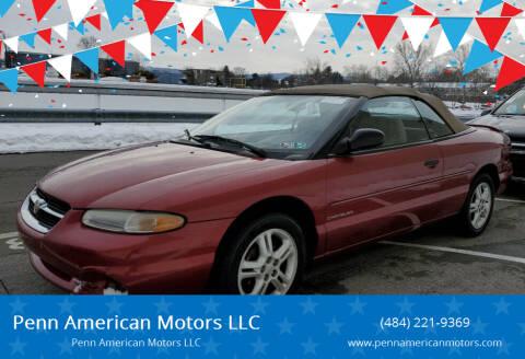 1996 Chrysler Sebring for sale at Penn American Motors LLC in Allentown PA