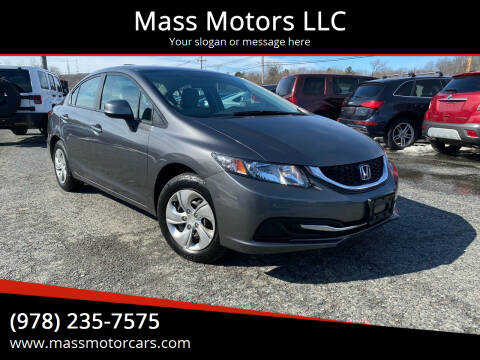 2013 Honda Civic for sale at Mass Motors LLC in Worcester MA
