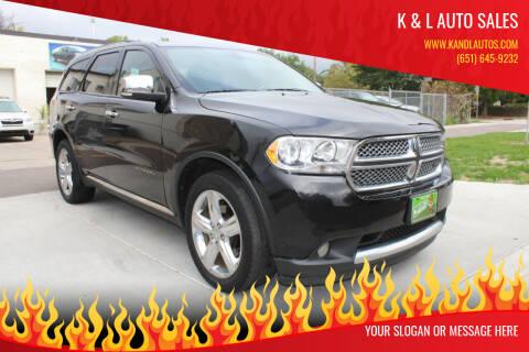 2013 Dodge Durango for sale at K & L Auto Sales in Saint Paul MN