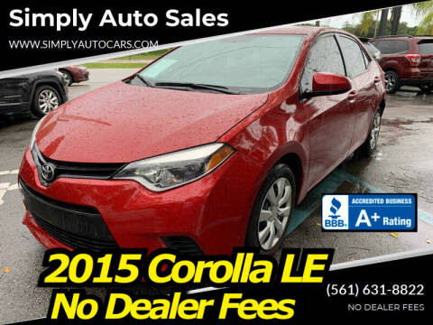 2015 Toyota Corolla for sale at Simply Auto Sales in Palm Beach Gardens FL