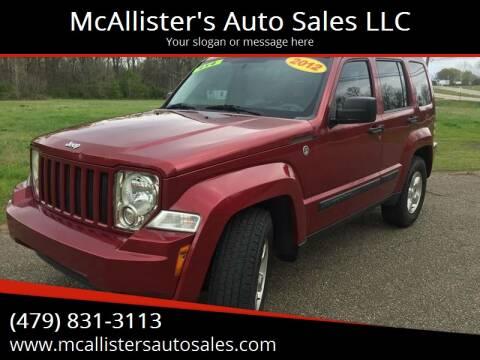 2012 Jeep Liberty for sale at McAllister's Auto Sales LLC in Van Buren AR