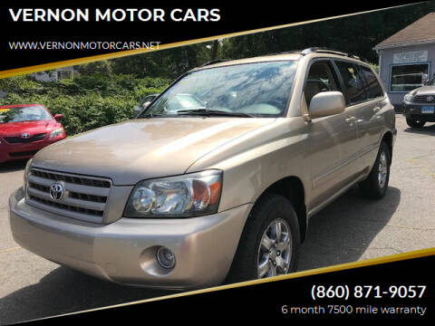 2005 Toyota Highlander for sale at VERNON MOTOR CARS in Vernon Rockville CT