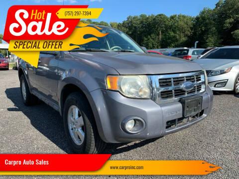 2008 Ford Escape for sale at Carpro Auto Sales in Chesapeake VA
