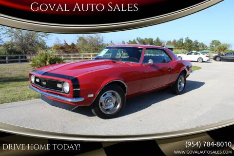 1968 Chevrolet Camaro for sale at Goval Auto Sales in Pompano Beach FL