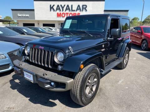 2017 Jeep Wrangler for sale at KAYALAR MOTORS in Houston TX
