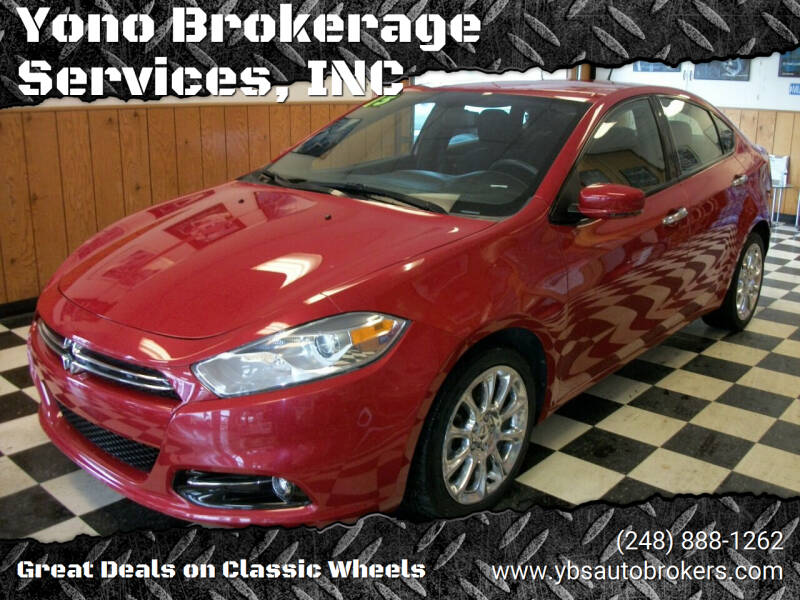 2013 Dodge Dart for sale at Yono Brokerage Services, INC in Farmington MI
