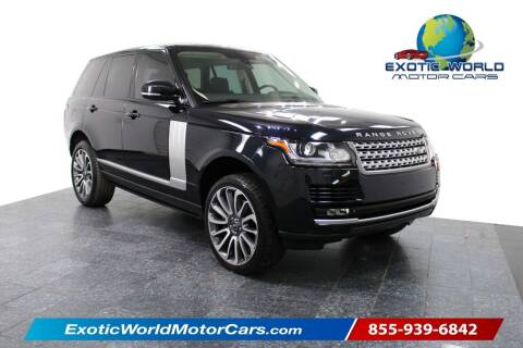 2015 Land Rover Range Rover for sale at Exotic World Motor Cars in Addison TX