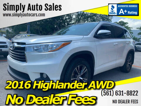 2016 Toyota Highlander for sale at Simply Auto Sales in Palm Beach Gardens FL