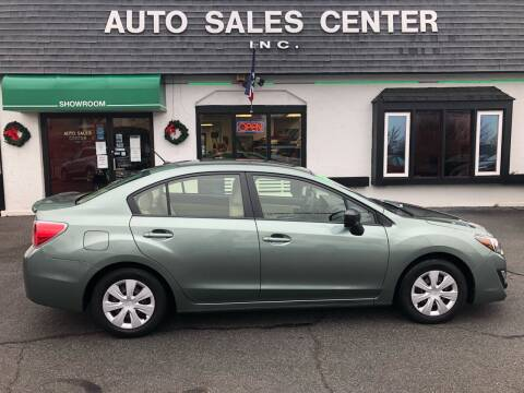 2016 Subaru Impreza for sale at Auto Sales Center Inc in Holyoke MA
