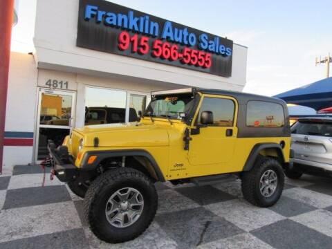 2004 Jeep Wrangler for sale at Franklin Auto Sales in El Paso TX