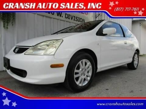 2002 Honda Civic for sale at CRANSH AUTO SALES, INC in Arlington TX