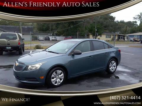 2012 Chevrolet Cruze for sale at Allen's Friendly Auto Sales in Sanford FL
