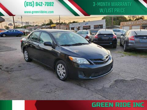 2011 Toyota Corolla for sale at Green Ride Inc in Nashville TN