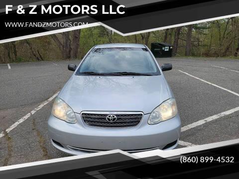 2006 Toyota Corolla for sale at F & Z MOTORS LLC in Waterbury CT