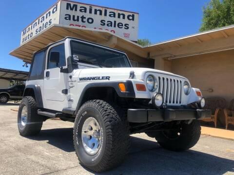 2001 Jeep Wrangler for sale at Mainland Auto Sales Inc in Daytona Beach FL