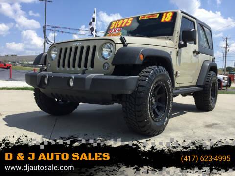 2018 Jeep Wrangler JK for sale at D & J AUTO SALES in Joplin MO