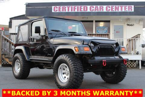 2000 Jeep Wrangler for sale at CERTIFIED CAR CENTER in Fairfax VA